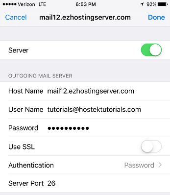 Update SMTP settings